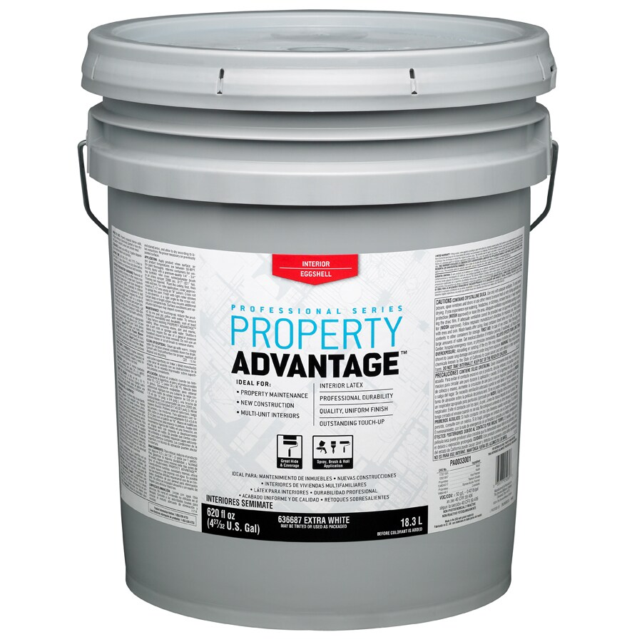 Shop Property Advantage White Eggshell Latex Interior Paint Actual Net Contents 620 Fl Oz At