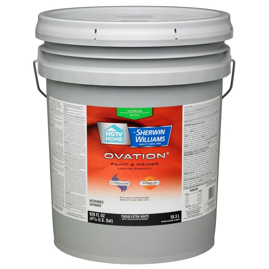 HGTV HOME by Sherwin-Williams Ovation Extra White Satin Latex Interior Paint and Primer in One (Actual Net Contents: 590-fl oz)
