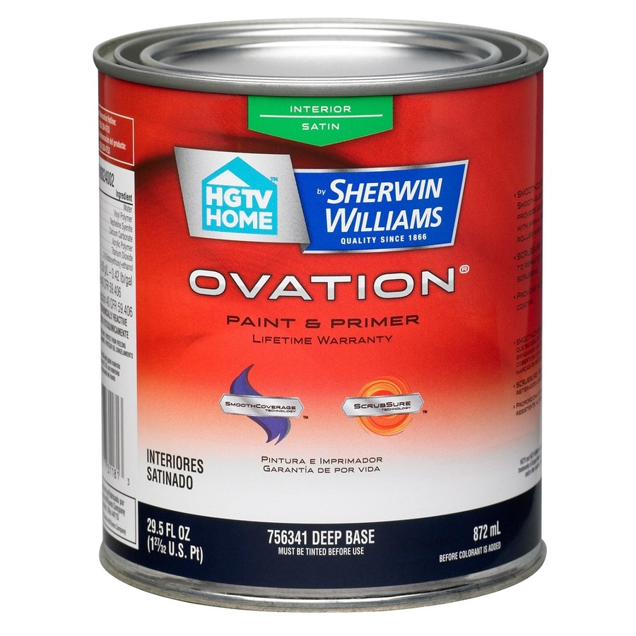 HGTV HOME by Sherwin-Williams Ovation Tintable Satin Latex Interior Paint and Primer in One (Actual Net Contents: 29.5-fl oz)