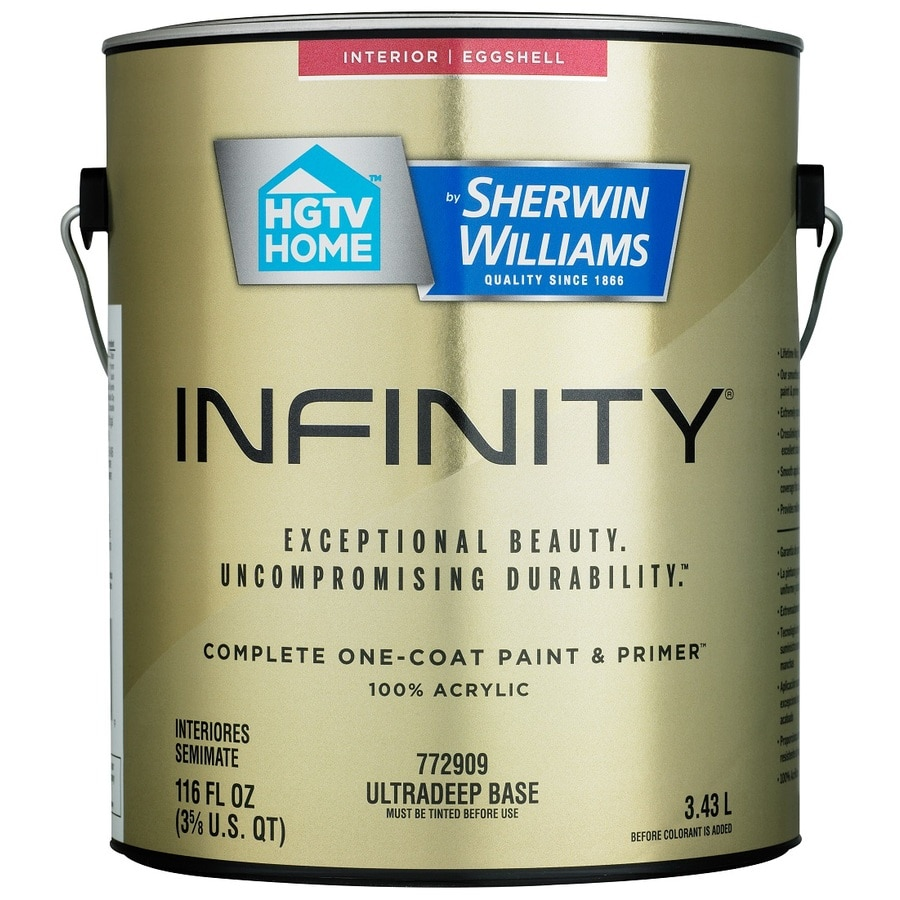 HGTV HOME by Sherwin-Williams Infinity Tintable Eggshell Acrylic Interior Paint and Primer In One Paint (Actual Net Contents: 116 Fluid Oz.)