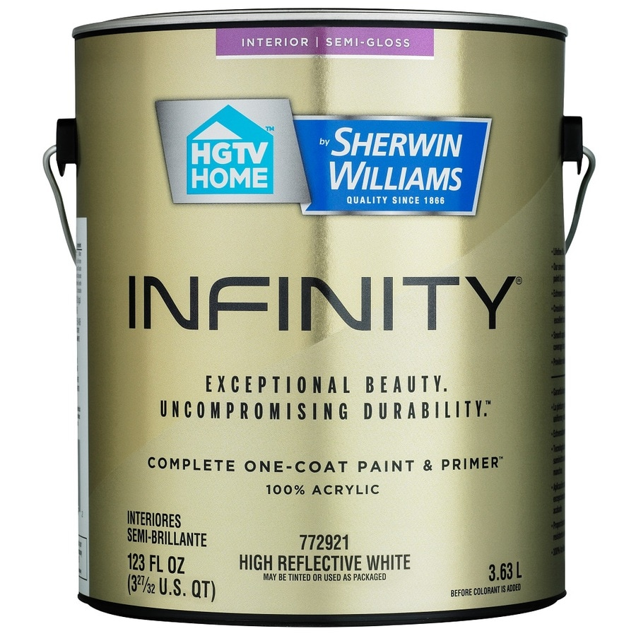 HGTV HOME by Sherwin-Williams Infinity White Semi-Gloss Acrylic Interior Paint and Primer In One Paint (Actual Net Contents: 123 Fluid Oz.)
