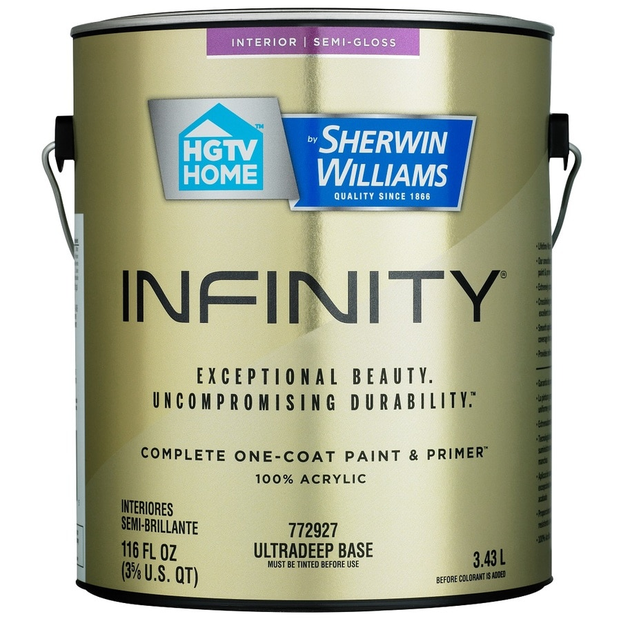 HGTV HOME by Sherwin-Williams Infinity Tintable Semi-Gloss Acrylic Interior Paint and Primer In One Paint (Actual Net Contents: 116 Fluid Oz.)