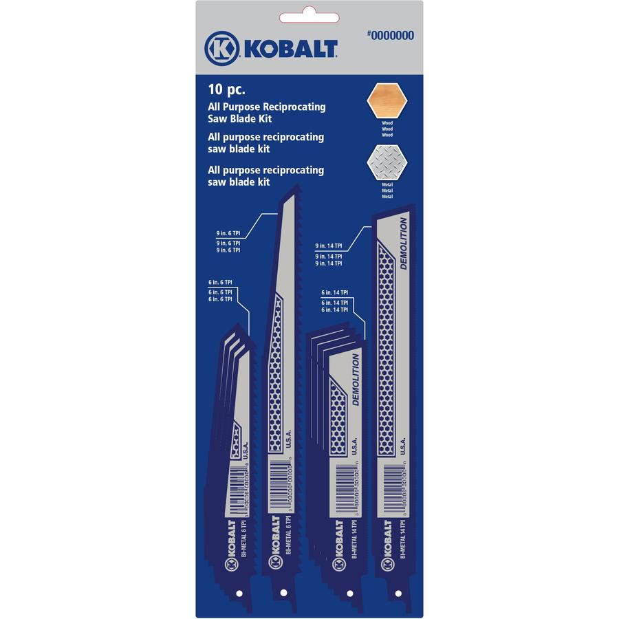 Kobalt 10-Pack Bi-Metal Reciprocating Saw Blade Set