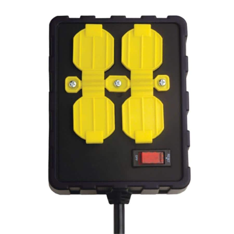 Over-Load Guard 8-ft 15-Amp 4-Outlet 14-Gauge Black / Yellow Indoor Extension Cord with Built-In Circuit Breaker