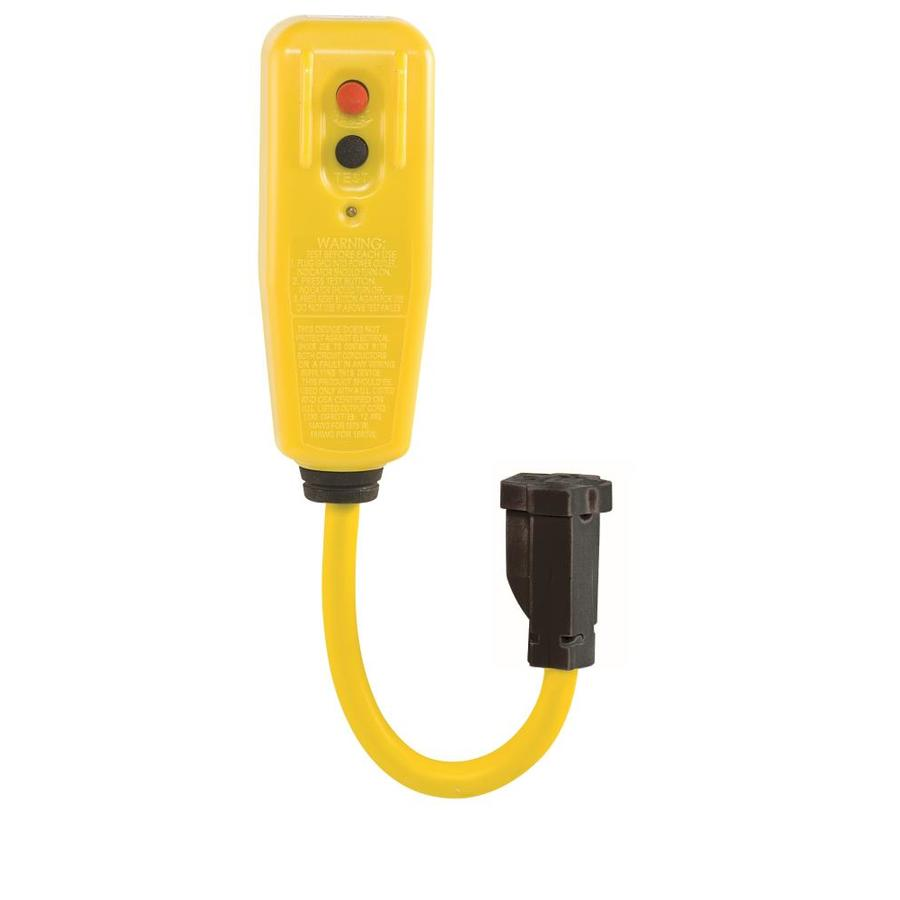 Tower Manufacturing 0.75-ft 15-Amp 12-Gauge Yellow Outdoor Extension Cord with GFCI Circuit