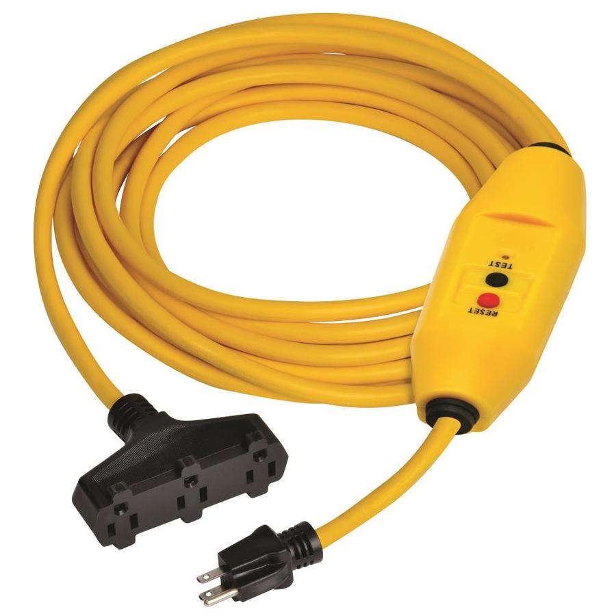 Tower Manufacturing 25-ft 15-Amp 3-Outlet 12-Gauge Yellow Outdoor Extension Cord with GFCI Circuit
