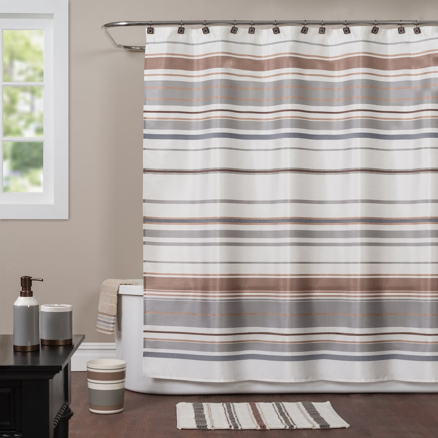 Saturday Knight Limited Colorware Polyester Brown Striped Shower Curtain