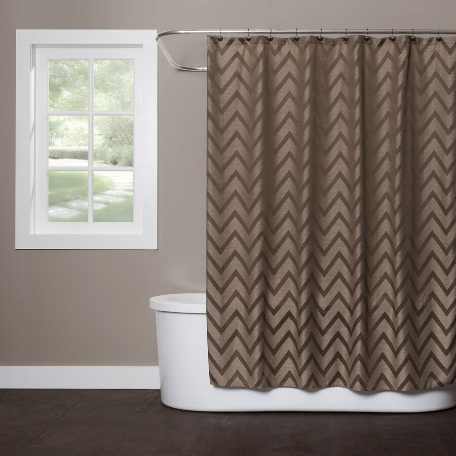 Saturday Knight Limited Chevron Polyester Brown Patterned Shower Curtain
