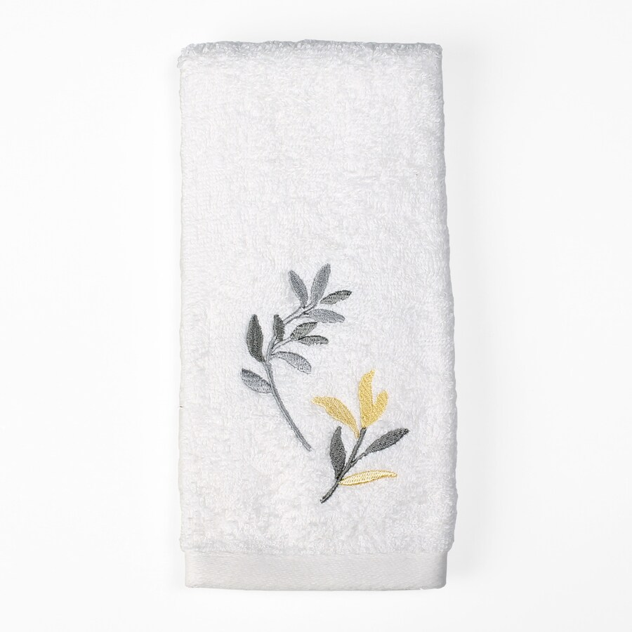 Saturday Knight Limited Trellis 16-in x 25-in Yellow and Gray Cotton Hand Towel