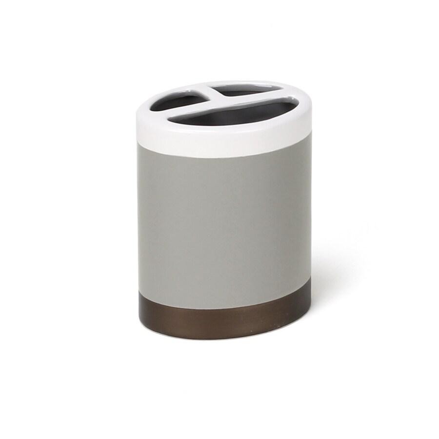 Saturday Knight Limited Colorware Stripe Gray/Ceramic Ceramic Toothbrush Holder