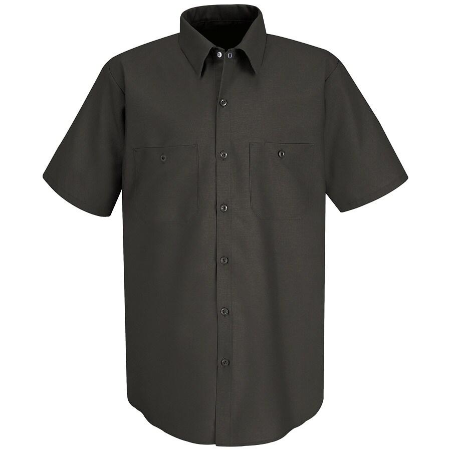 Red Kap Men's XXL-Long Charcoal Poplin Polyester Blend Short Sleeve Uniform Work Shirt