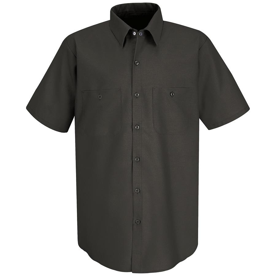 Red Kap Men's 4XL-Long Charcoal Poplin Polyester Blend Short Sleeve Uniform Work Shirt