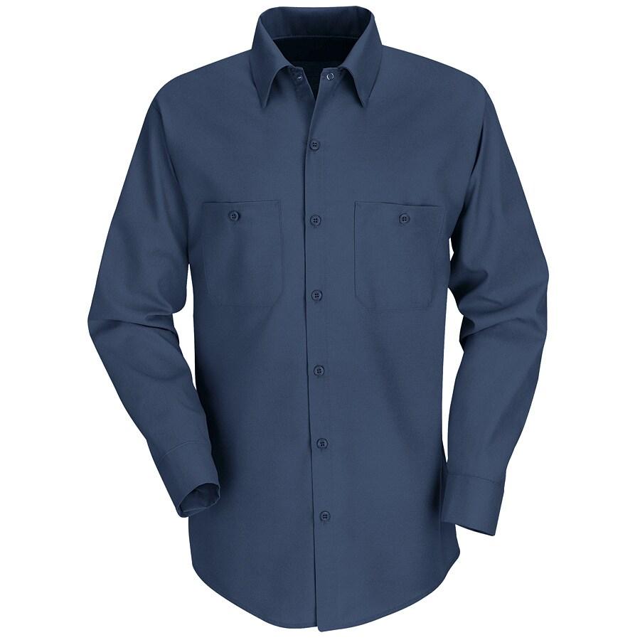 Red Kap Men's 4XL Navy Poplin Polyester Blend Long Sleeve Uniform Work Shirt