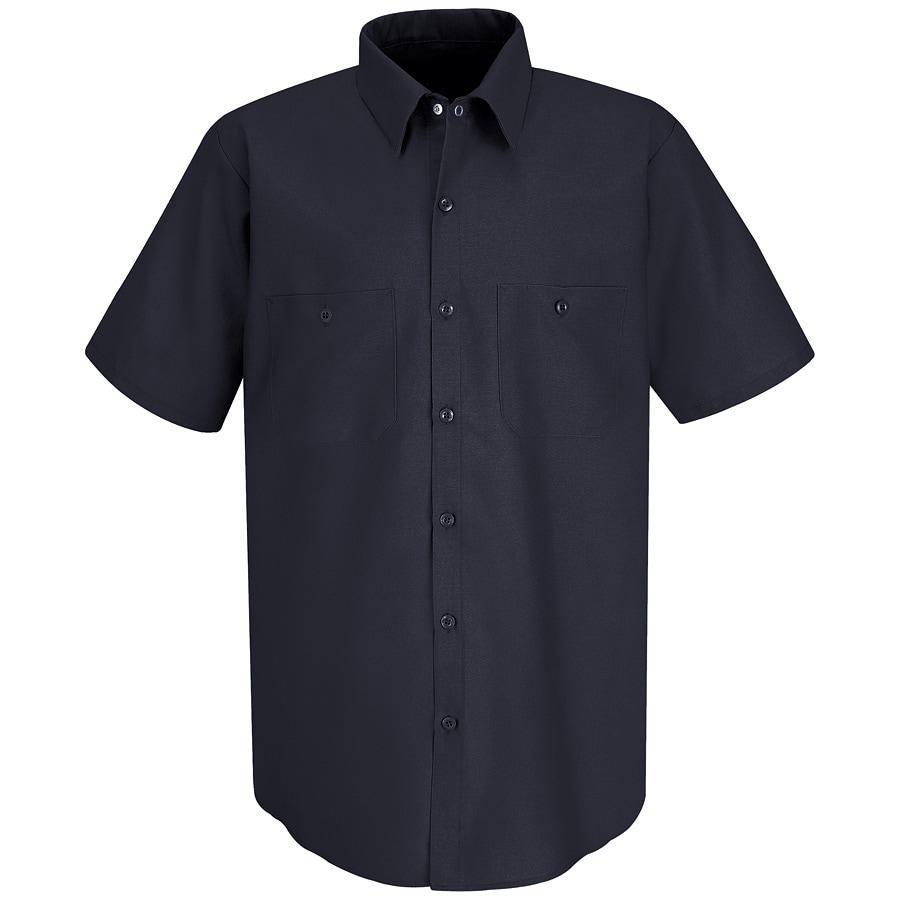 Red Kap Men's 4XL-Long Navy Poplin Polyester Blend Short Sleeve Uniform Work Shirt