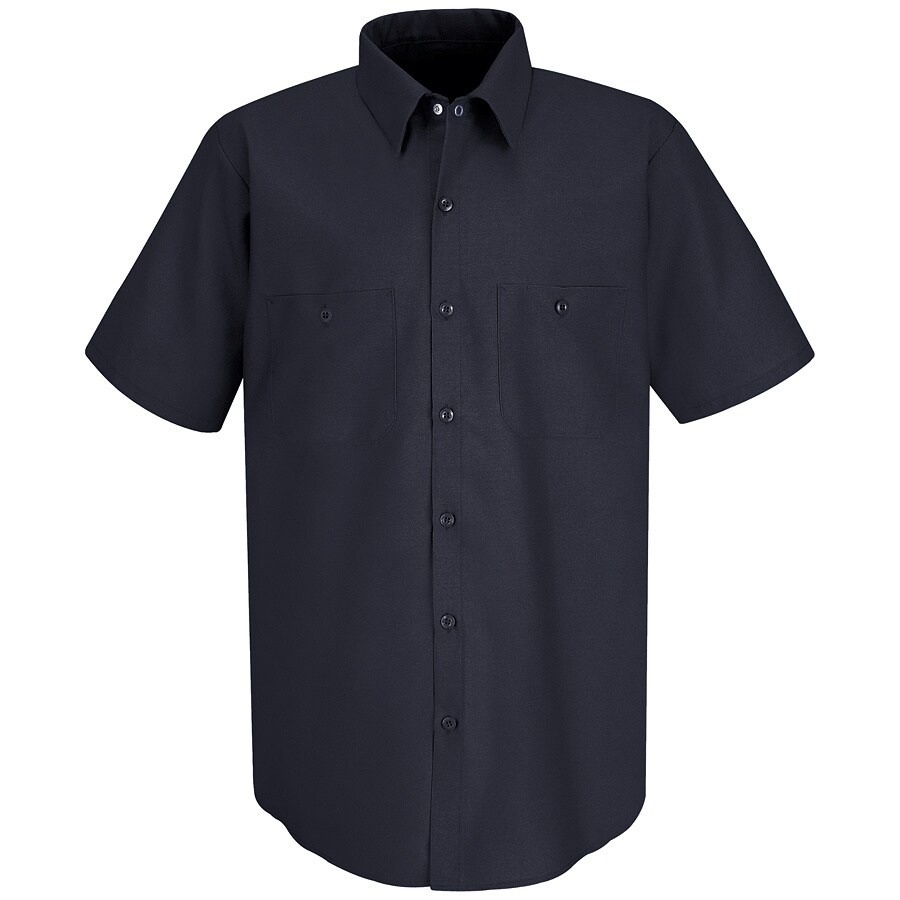 Red Kap Men's 5XL-Long Navy Poplin Polyester Blend Short Sleeve Uniform Work Shirt