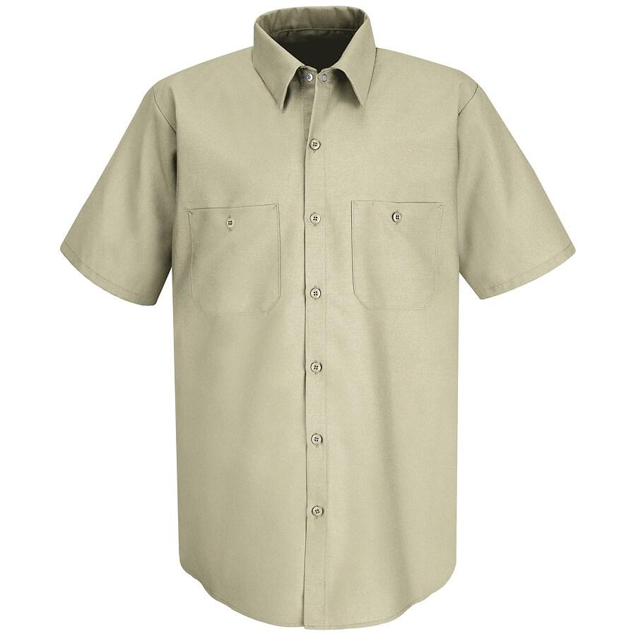Red Kap Men's 3XL-Long Light Tan Poplin Polyester Blend Short Sleeve Uniform Work Shirt