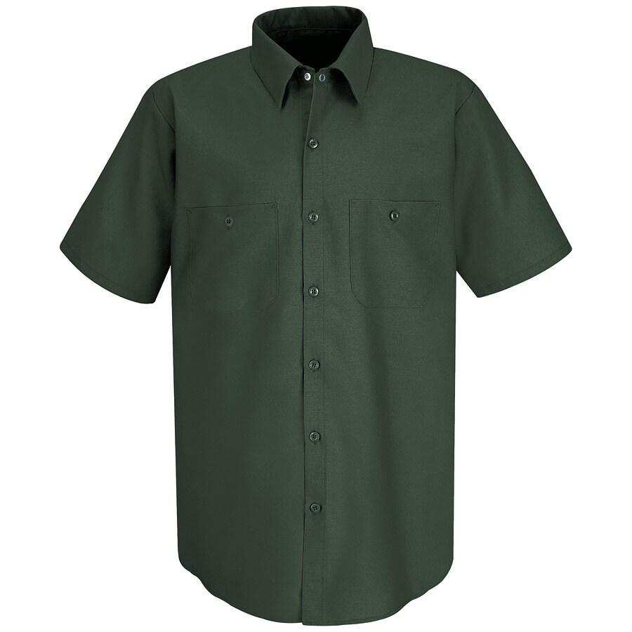 Red Kap Men's XXL-Long Spruce Green Poplin Polyester Blend Short Sleeve Uniform Work Shirt