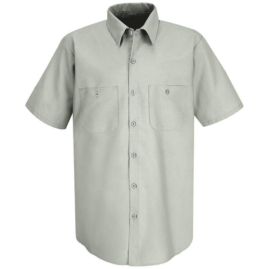 Red Kap Men's 4XL Light Grey Poplin Polyester Blend Short Sleeve Uniform Work Shirt