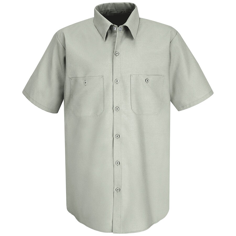 Red Kap Men's Medium-Long Light Grey Poplin Polyester Blend Short Sleeve Uniform Work Shirt