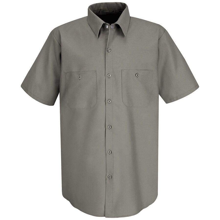 Red Kap Men's 3XL-Long Grey Poplin Polyester Blend Short Sleeve Uniform Work Shirt