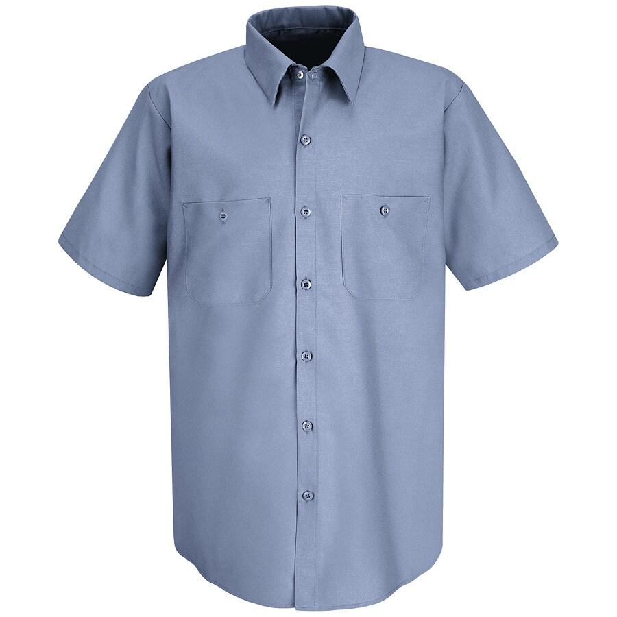 Red Kap Men's Large-Long Petrol Blue Poplin Polyester Blend Short Sleeve Uniform Work Shirt