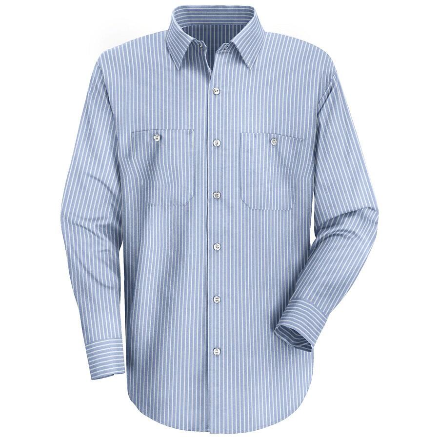 Red Kap Men's 5XL Blue Striped Poplin Polyester Blend Long Sleeve Uniform Work Shirt