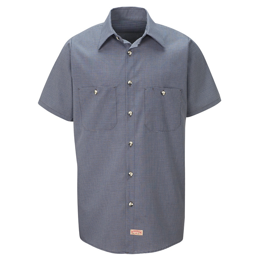 Red Kap Men's 5XL Blue Check Poplin Polyester Blend Short Sleeve Uniform Work Shirt