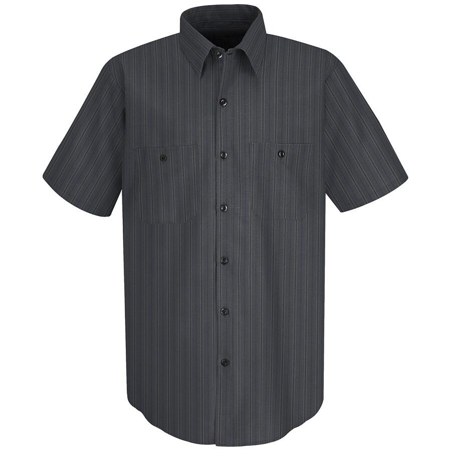 Red Kap Men's Large Charcoal with Blue Striped Poplin Polyester Blend Short Sleeve Uniform Work Shirt