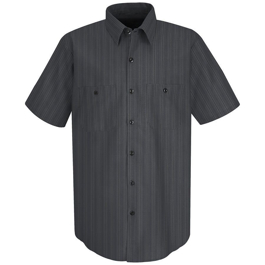 Red Kap Men's X-Large Charcoal with Blue Striped Poplin Polyester Blend Short Sleeve Uniform Work Shirt