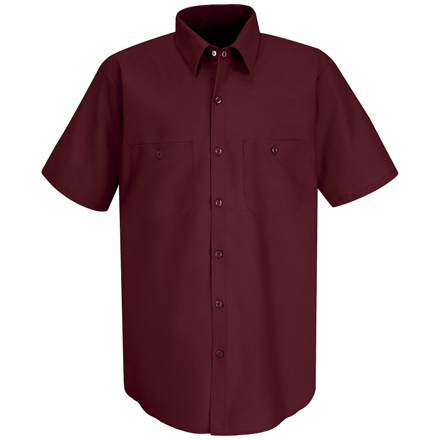 Red Kap Men's X-Large Burgundy Poplin Polyester Blend Short Sleeve Uniform Work Shirt