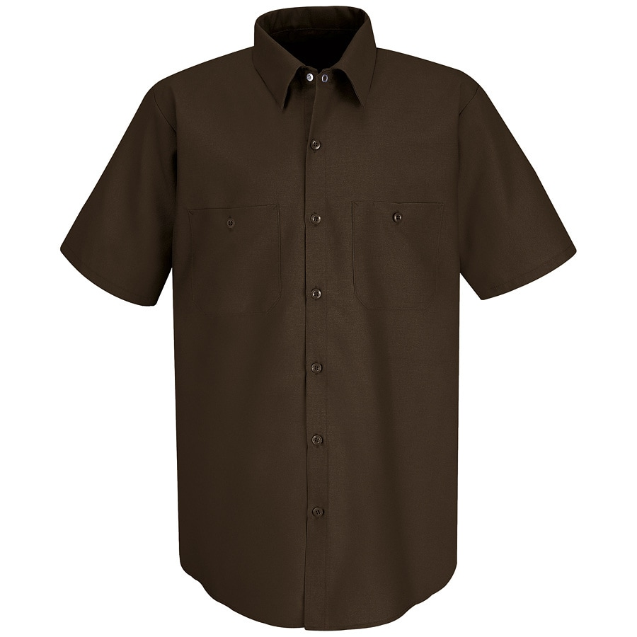 Red Kap Men's Large Chocolate Brown Poplin Polyester Blend Short Sleeve Uniform Work Shirt