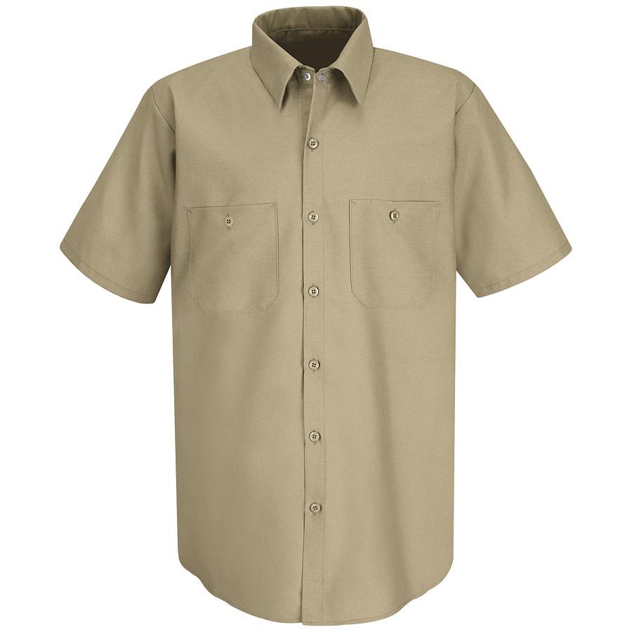 Red Kap Men's Small Khaki Poplin Polyester Blend Short Sleeve Uniform Work Shirt