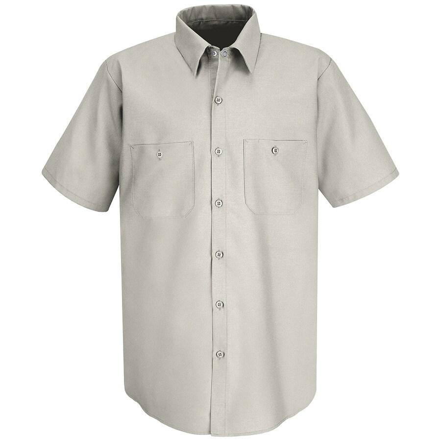 Red Kap Men's 4XL Silver Grey Poplin Polyester Blend Short Sleeve Uniform Work Shirt