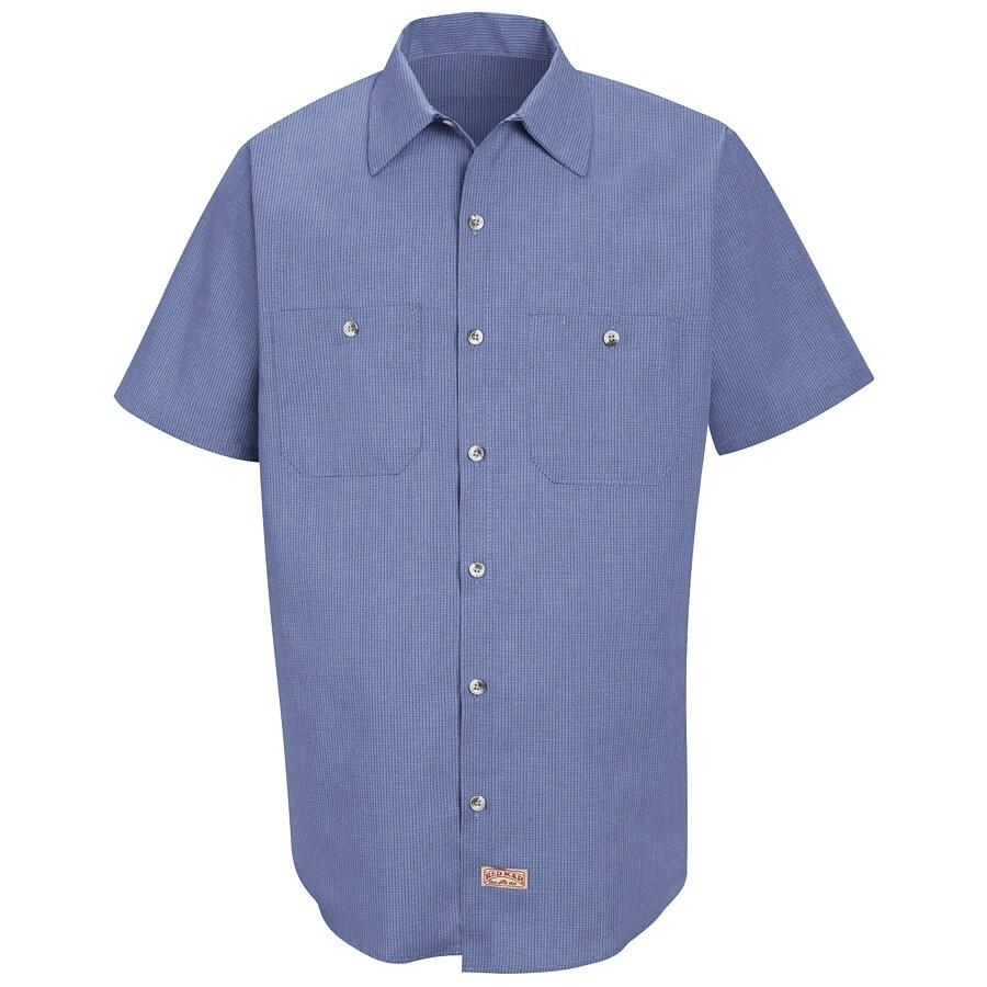 Red Kap Men's Medium Denim Blue Microcheck Poplin Polyester Blend Short Sleeve Uniform Work Shirt