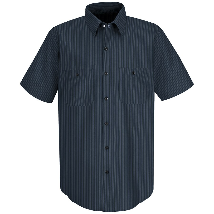 Red Kap Men's Small Navy/Light Blue Twin Stripe Poplin Polyester Blend Short Sleeve Uniform Work Shirt