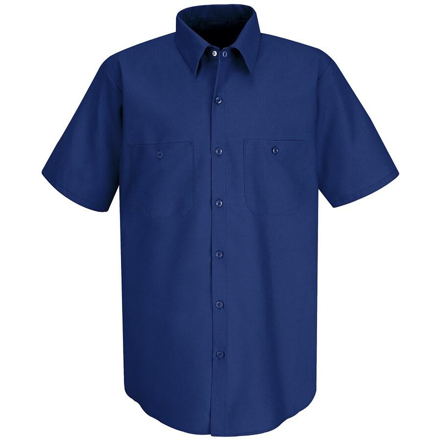 Red Kap Men's Medium Royal Blue Poplin Polyester Blend Short Sleeve Uniform Work Shirt