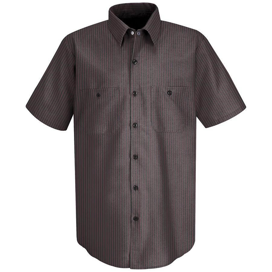 Red Kap Men's X-Large Charcoal Twin Stripe Poplin Polyester Blend Short Sleeve Uniform Work Shirt