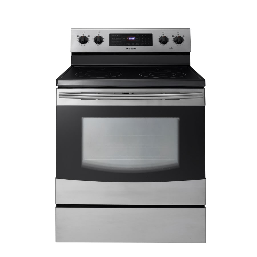Samsung Smooth Surface Freestanding 5.9-cu ft Self-Cleaning with Steam Electric Range (Stainless) (Common: 30-in; Actual: 29.9062-in)