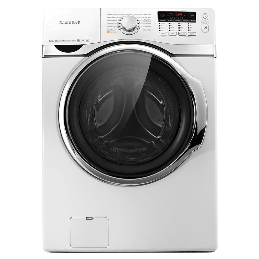 Samsung 4-cu ft High-Efficiency Stackable Front-Load Washer with Steam Cycle (White) ENERGY STAR