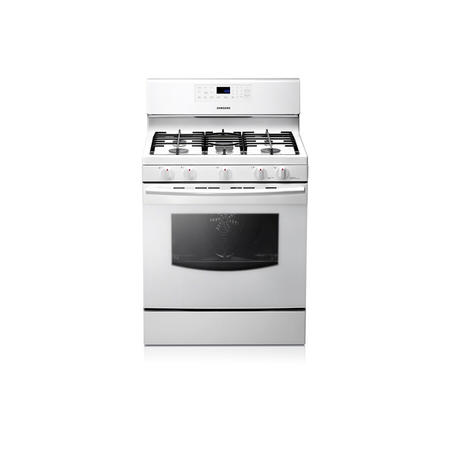 Samsung 5-Burner Freestanding 5.8-cu Self-Cleaning Convection Gas Range (White) (Common: 30; Actual: 29.81-in)