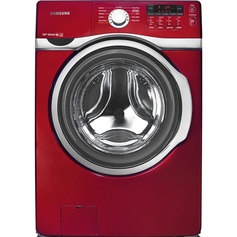 Samsung 3.9-cu ft High-Efficiency Stackable Front-Load Washer with Steam Cycle (Red) ENERGY STAR