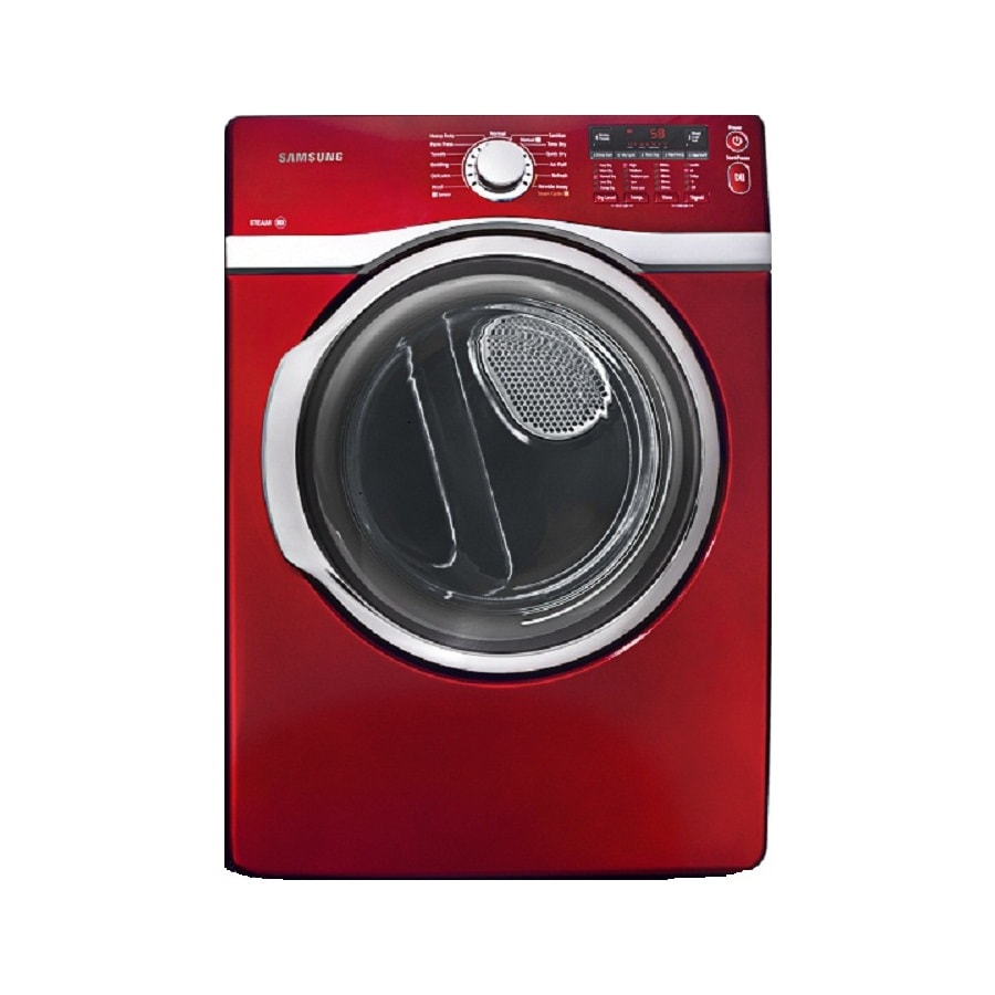 Samsung 7.4-cu ft Stackable Electric Dryer with Steam Cycle (Red)