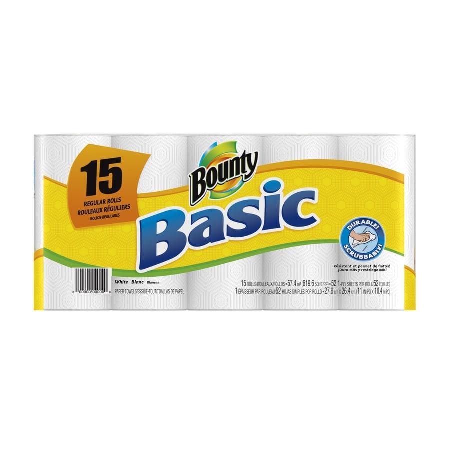 Bounty Basic 15-Pack Regular Paper Towel Rolls