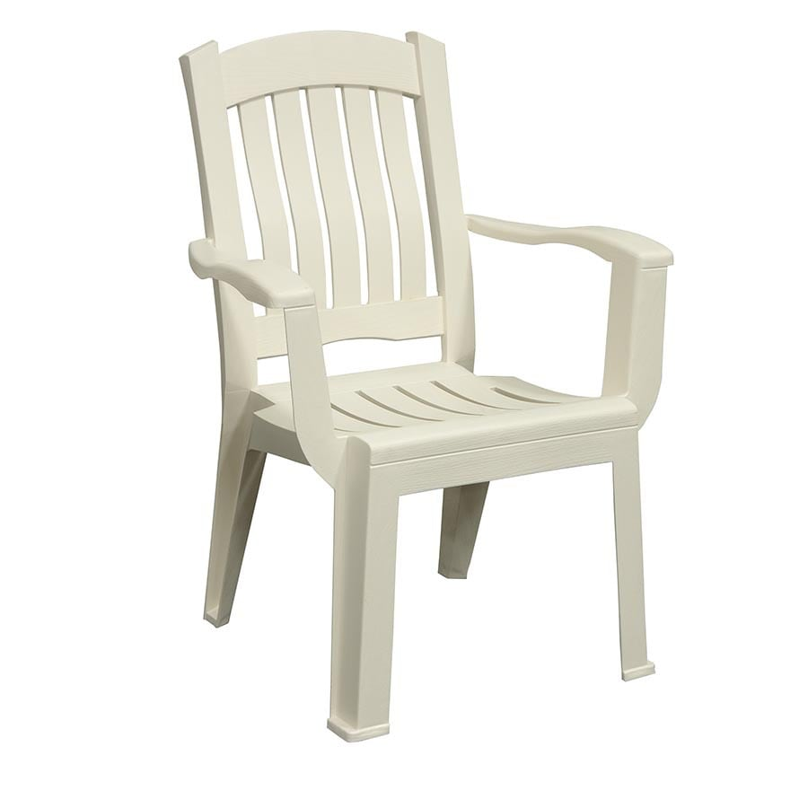 Adams Mfg Corp White Resin Stackable Patio Dining Chair