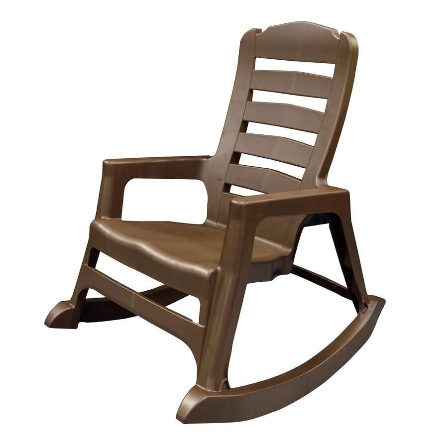 Shop adams mfg corp earth brown resin stackable patio rocking chair at - Rocking chair but ...