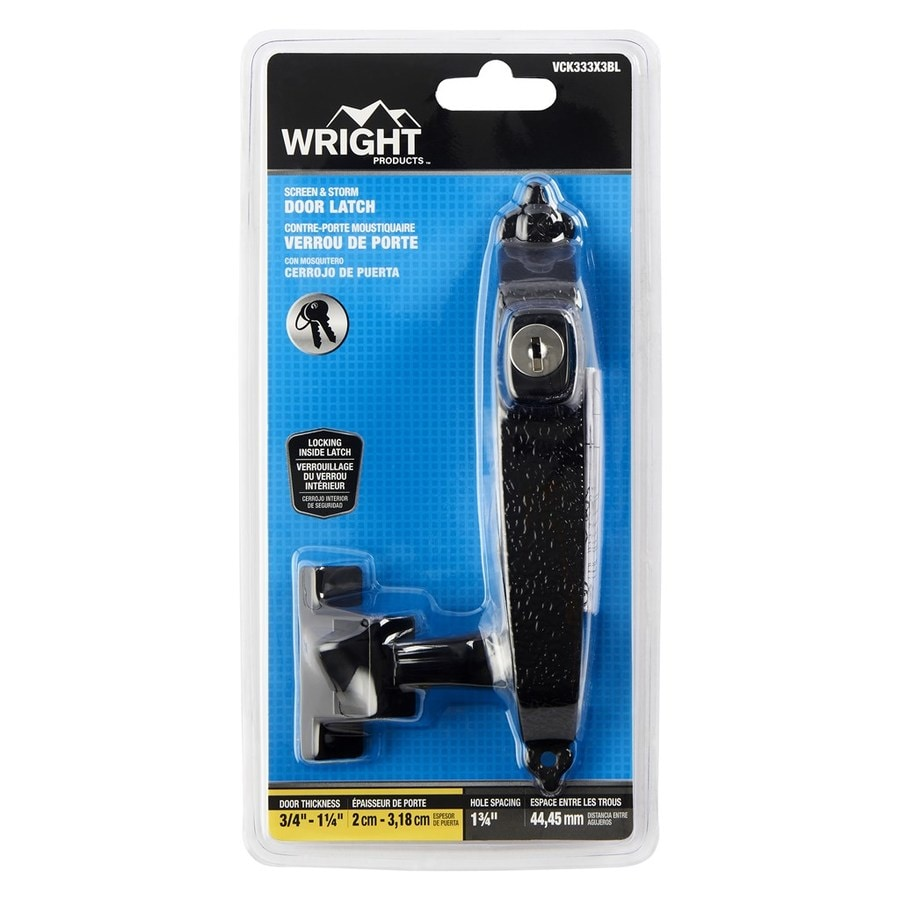WRIGHT PRODUCTS 3.5-in Keyed Black Screen Door and Storm Door Colonial Push Latch