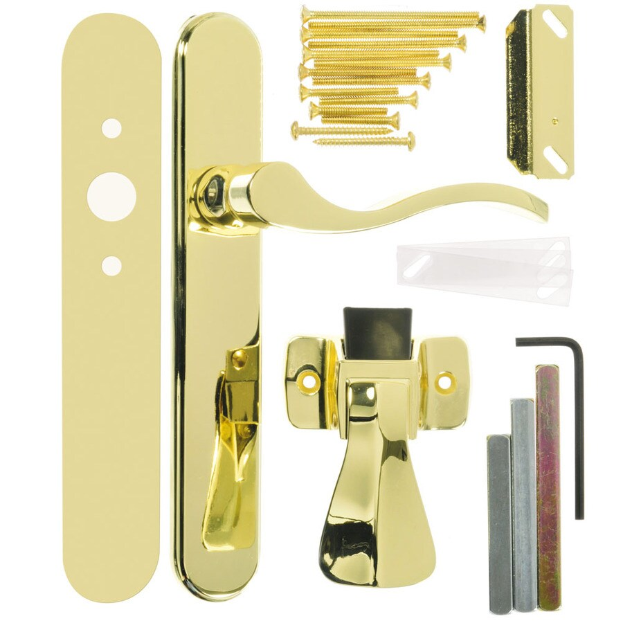 WRIGHT PRODUCTS 3.5-in Keyed Polished Brass Screen Door and Storm Door Mortise Latch