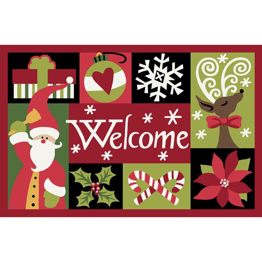 Natco Christmas Multicolor Rectangular Door Mat (Common: 20-in x 30-in; Actual: 19.7-in x 29.9-in)