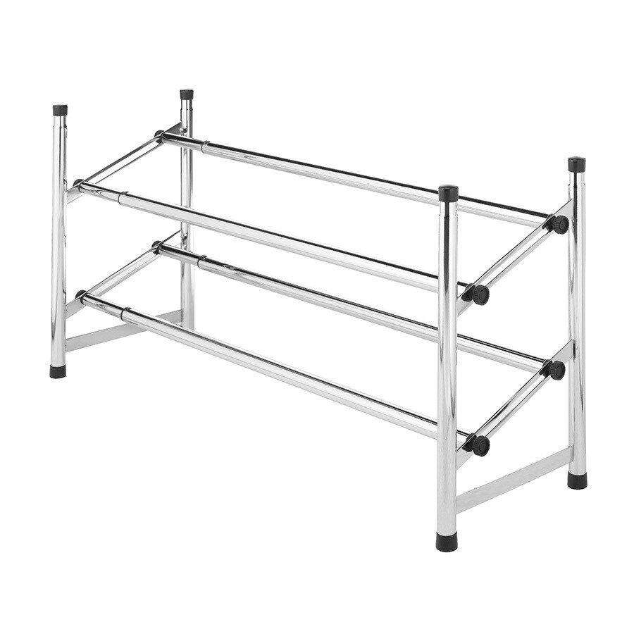 Style Selections 8 Pair Chrome with Black Tiers Metal Shoe Rack
