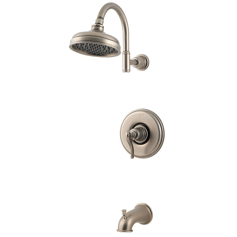 Shop Pfister Ashfield Rustic Pewter 1 Handle Bathtub And Shower Faucet With R